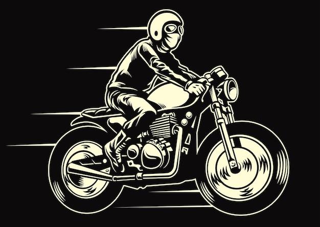 Mann fahren ein klassisches kundenspezifisches motorrad