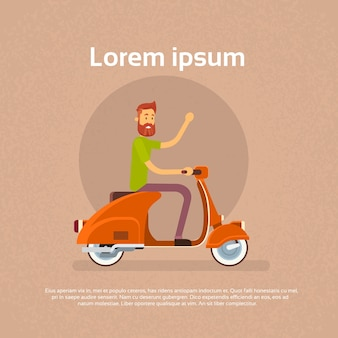 Mann-fahrmotorrad-roller-wellen-hand