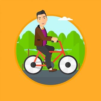 Mann fahrrad fahren.