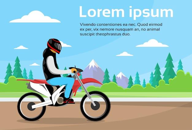 Mann-fahrt weg vom straßen-bewegungsfahrrad, sport motocycle