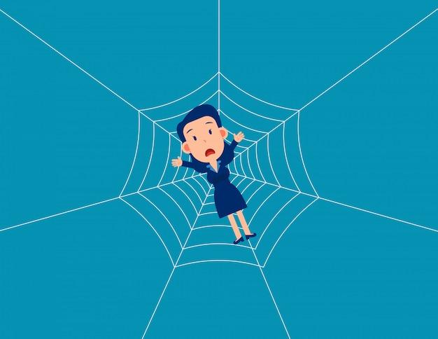 Mann falle spinnennetz. das geschäft gerät in eine falle