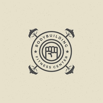 Mann faust logo oder abzeichen vektor illustration schwere hanteln symbol silhouette