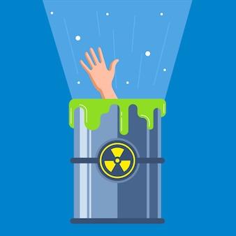 Mann fiel in einen radioaktiven behälter.