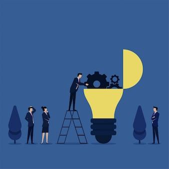 Mann fixe ausrüstung auf lampe