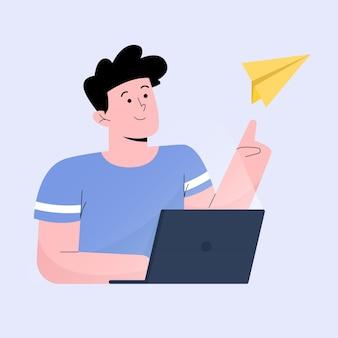 Mann fliegt papierflugzeug zum teilen von inhalten mmarketing