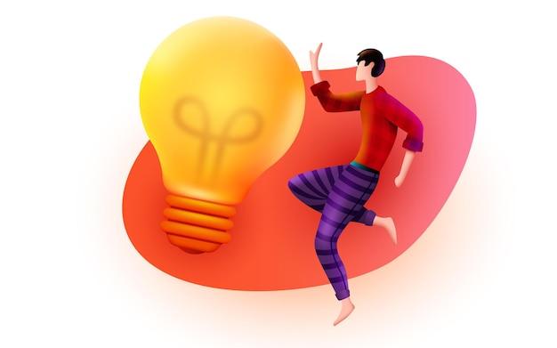 Mann fliegt um eine glühbirne innovation brainstorming und kreatives ideenkonzept