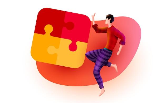 Mann fliegt um puzzle-zusammenarbeit, teamwork und partnerschaftskonzept herum