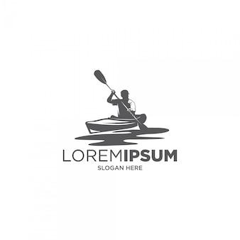Mann fluss kajak silhouette logo