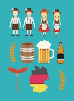 Mann frau bier fass deutsch deutschland cartoon avatar