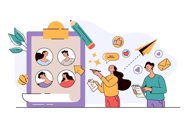 Mann-frau-charakter-manager, die arbeitskandidaten auswählen headhunting rekrutierung hr-management vorstellungsgespräch abstraktes konzept flache moderne design-illustration