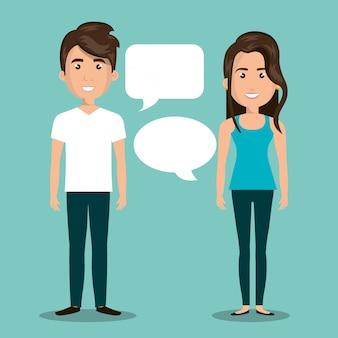 Mann frau reden blase dialog isoliert