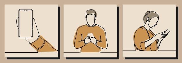 Mann frau spielt telefon eine linie kunstvektorillustration Premium Vektoren