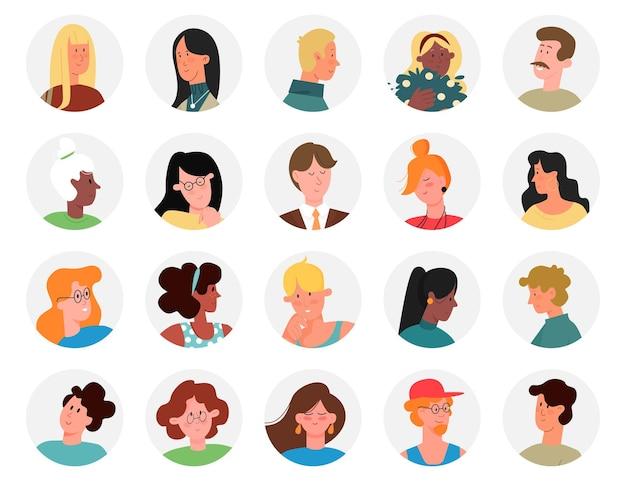 Mann frau steht kreis avatare für social media netzwerk set geschäftsleute köpfe