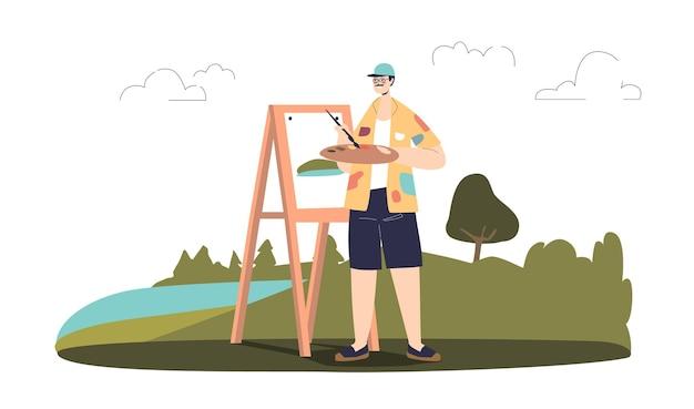 Mann-freilichtmalerzeichnung, männlicher künstler, der landschaft draußen im freien malt