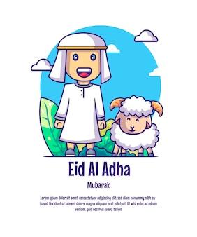 Mann freut sich über die ankunft von eid al adha