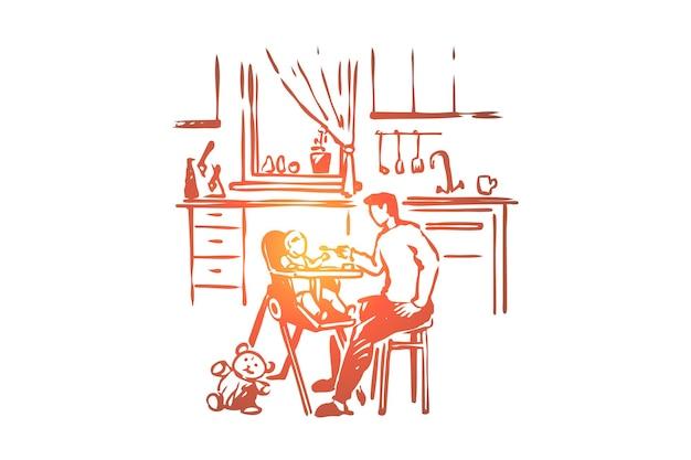 Mann füttert kind, elternteil hält löffel, kleinkind sitzt in hochstuhlillustration