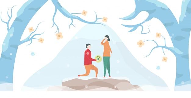 Mann geben ehering zu seiner freundin. szenenentwurf über paar liebe in der wintersaison. illustration im flachen stil.