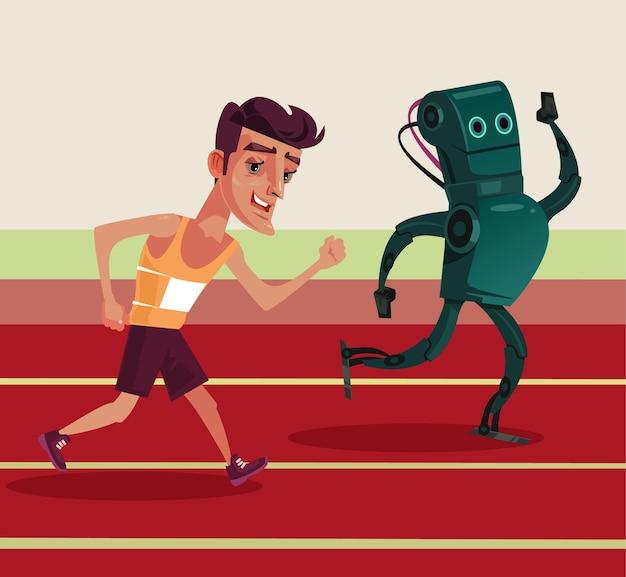 Mann gegen flache karikaturillustration des roboters