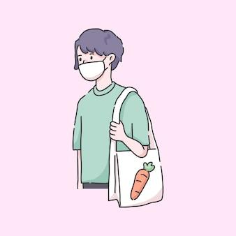 Mann geht zum lebensmittelgeschäft mit maske
