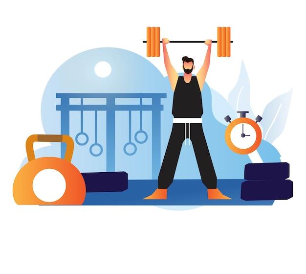 Mann gewichtheben trainieren im fitnessstudio