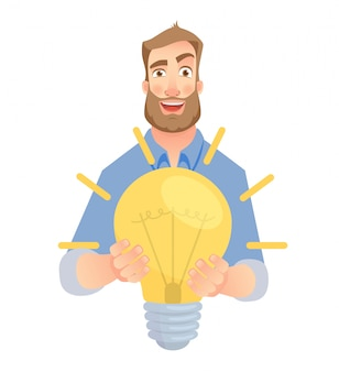 Mann gibt lampe