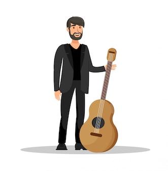 Mann-gitarren-leistungs-flache vektor-illustration