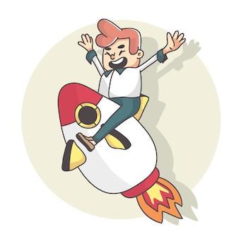 Mann glücklich mit rakete fliegen