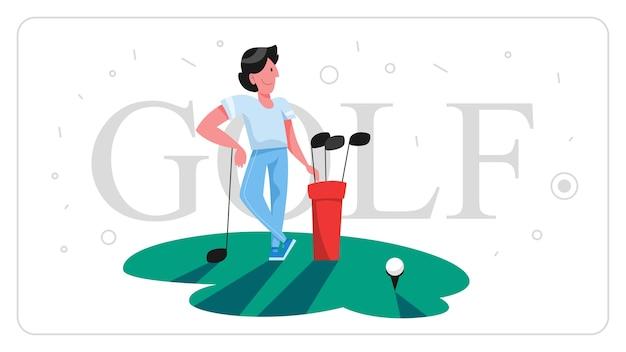 Mann golf spielen. person, die verein und ball hält.