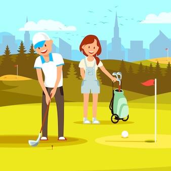 Mann-golfspieler, der sich vorbereitet, ball in loch einzusetzen.