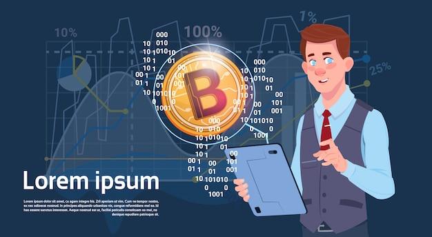 Mann-griff-digital-tablet-goldenes bitcoin-moderne währungs-krypto-web-diagramm-und diagramm-hintergrund
