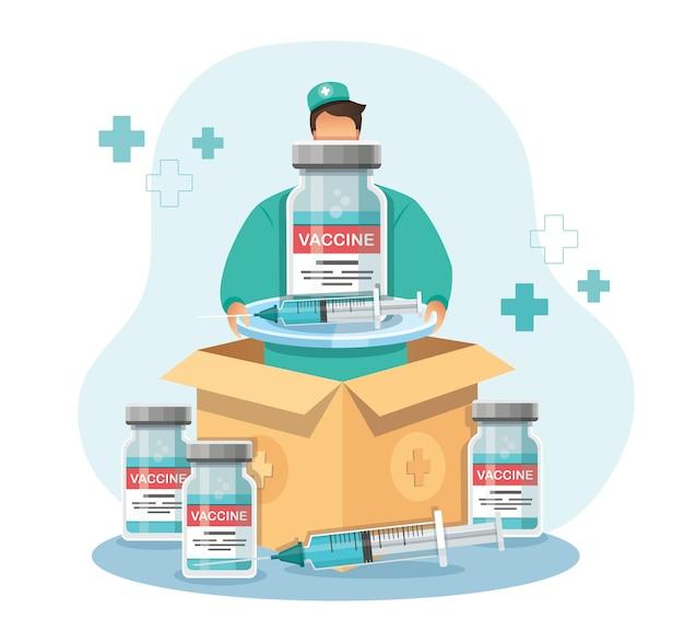 Mann hält die impfstoffbox lieferung von covid19-impfstoffen
