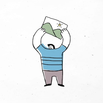 Mann hält ein bild-cartoon-symbol