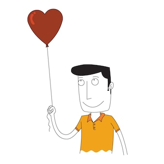 Mann hält einen ballon der liebe