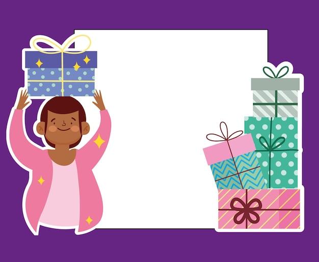 Mann hält geschenkbox-grußkarte festliche feierkarikaturillustration