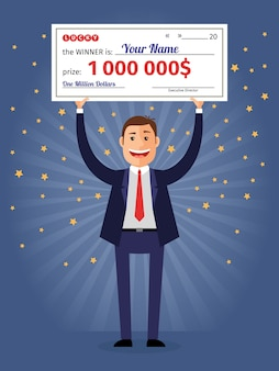 Mann hält gewinnscheck für eine million dollar. lotterie und reiches, glückliches lächeln, scheck und geld.