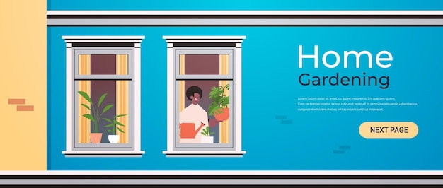 Mann hält gießkanne und gießt pflanzen hausgarten konzept afroamerikaner kerl kümmert sich um zimmerpflanzen im haus fenster porträt horizontale kopie raum illustration