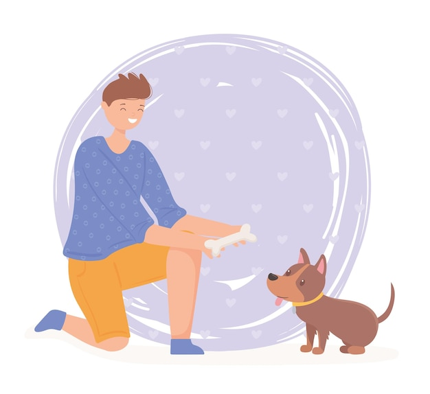 Mann hält knochen mit einem hund