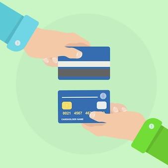Mann hält kredit- oder einzahlungskarte. bankzahlung