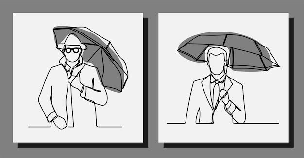 Mann hält regenschirm einzeilige durchgehende linie kunst premium-vektor