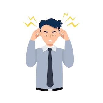 Mann hält seinen kopf wegen kopfschmerzen oder stress bei der arbeit.