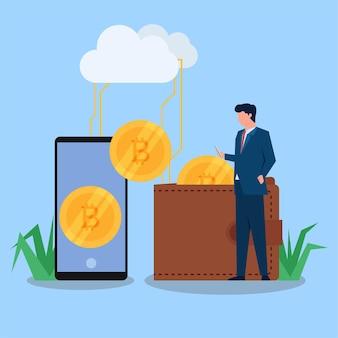 Mann hält telefonnest mit kryptomünze an brieftasche und telefonbildschirm