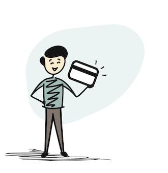 Mann-hand, die kreditkarte, gezeichnete skizzenkonzept-vektorillustration der karikatur hand hält.