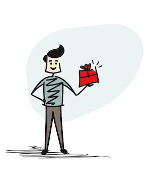Mann hand hält geschenkbox, cartoon hand gezeichnete skizze konzept isoliert vektor-illustration.