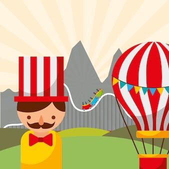 Mann heißluftballon