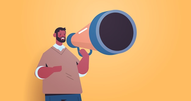 Mann hr manager hält lautsprecher, den wir einstellen, verbinden sie uns offene stelle rekrutierungskonzept horizontale porträtvektorillustration