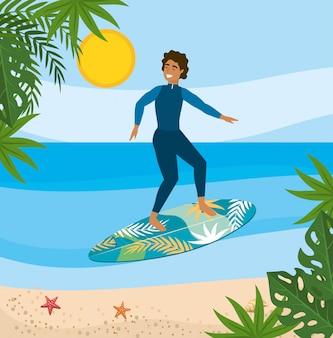 Mann im badeanzug und surfen im surfbrett mit blättern pflanzen