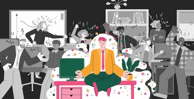Mann im büro, der meditationsyoga macht, während die leute in konflikt geraten