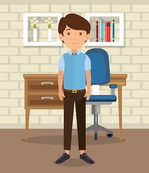 Mann im büro zu hause platzieren haus