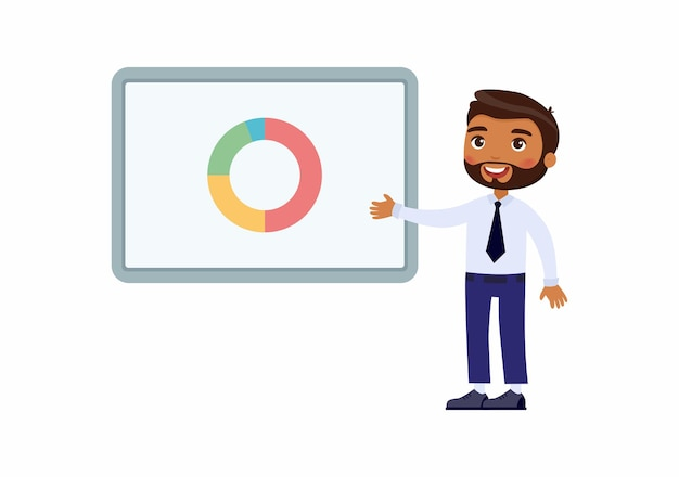 Mann im büroanzug zeigt auf ein demo-board mit grafiken