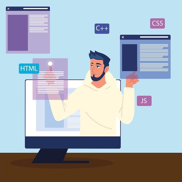 Mann im computer mit webentwicklungswebsites